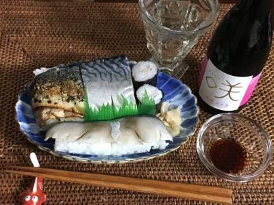 鯖づくしのお寿司と発砲日本酒の咲