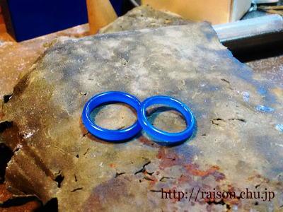 ゴールドで鋳造予定、結婚指輪の原型。