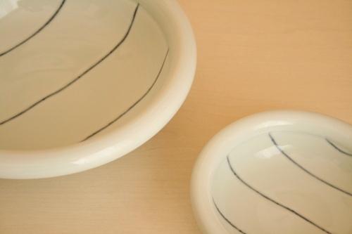 砥部焼・梅乃瀬窯:八寸玉縁鉢/五寸玉縁鉢