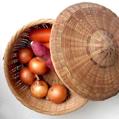 日本の古民具 籐・竹のバスケット