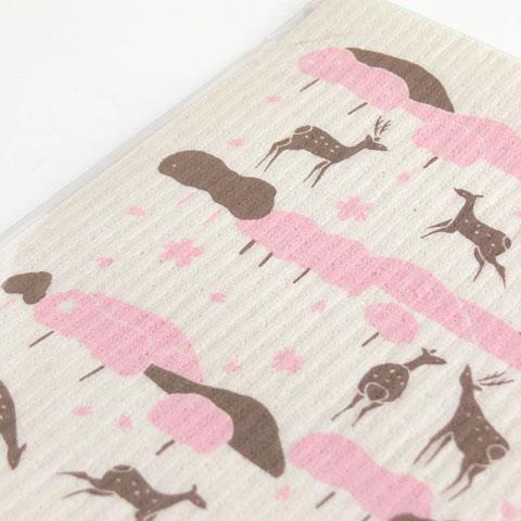 スポンジワイプ鹿と桜