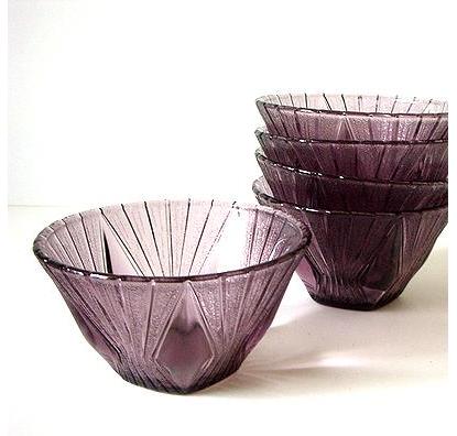 レトロな紫硝子ボールセット
