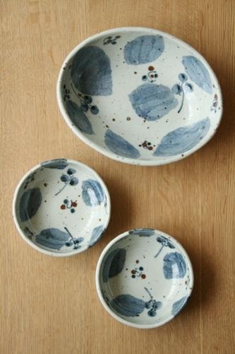 砥部焼・森陶房:カレー皿/たたら小鉢