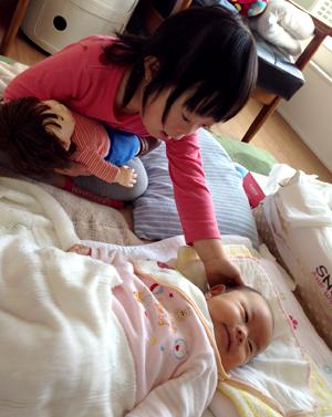 ダウン症優と赤ちゃんの翠