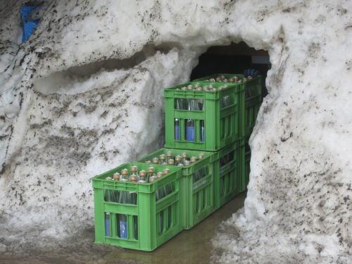 雪中貯蔵酒の掘り出し