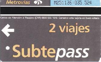 ブエノスアイレス地下鉄切符