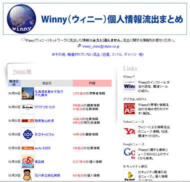 Winny(ウィニー)個人情報流出まとめ