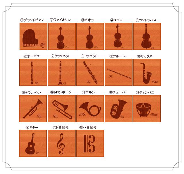 18種類の楽器と音楽記号