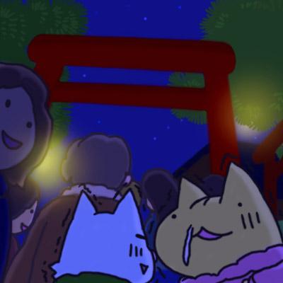 「ガクガクブルブル・・・!」「みんな酔っ払ってて寒くなさそうニャ!」「・・・(眠)」