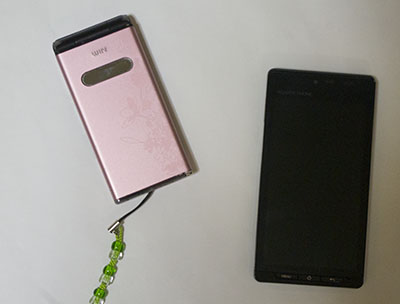 ピンクの携帯