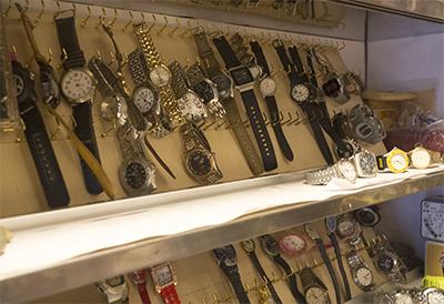 玉電と郷土の歴史館 腕時計がいっぱい