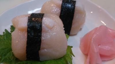 すだちと塩で食べるホタテ貝柱の握り寿司!