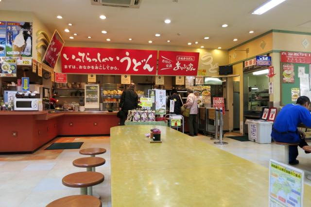 津田の松原サービスエリアのセルフうどん「あなぶき家」