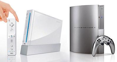 2006年内発売予定の任天堂「wii」(左) と Sony「PS3」(右)