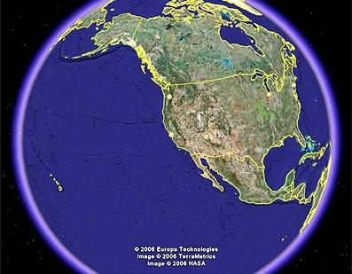 Google Earthで見た地球の表面。
