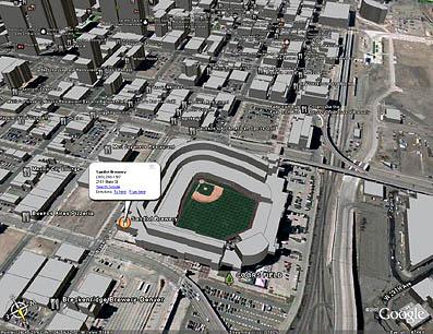 Google Earth で見た都市部の立体画像。