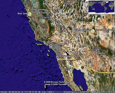 ロスアンゼルス付近上空。
