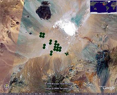 ネバダ州にある有名なアメリカ軍事基地の1つ、エリア51付近の衛生画像。