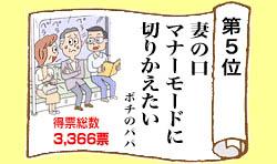 第19回 第一生命サラリーマン川柳コンクール、5位作品。