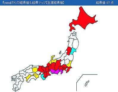 管理人の日本国内「経県値」の結果。