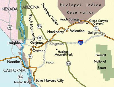 アリゾナ州付近のルート66号の地図。