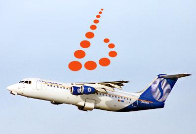 ブリュッセル航空の飛行機と新しくなった会社のロゴ。
