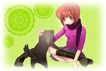 黒犬と女の子