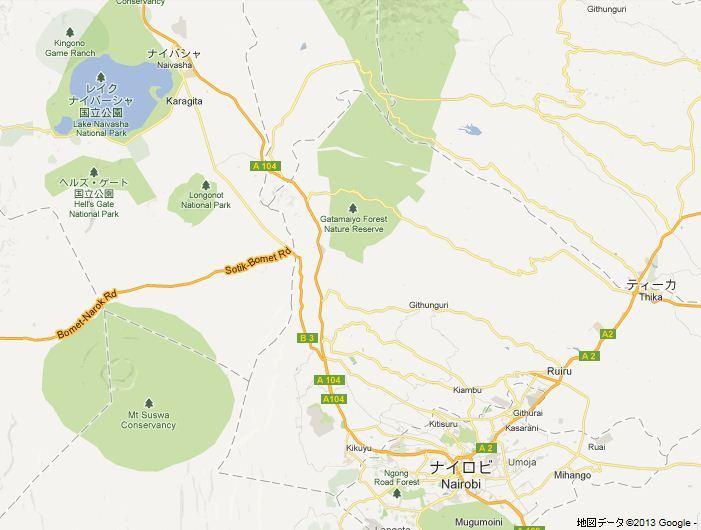 nairobi naivasha map
