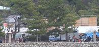 フェリーから見た牡蠣祭り会場