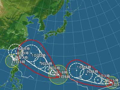 台風が一度に3個も来るなんて