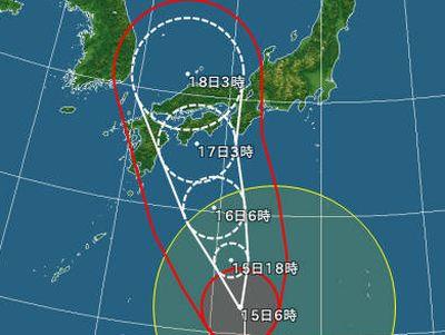 確実に台風接近中