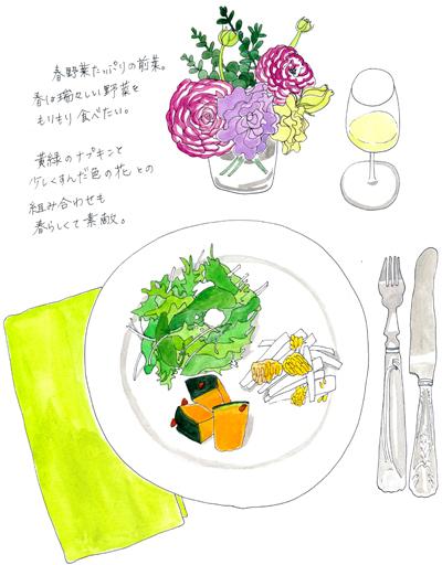 テーブル イラスト 料理