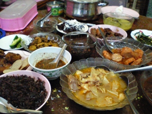 色々な肉の揚げたもの、臓物と野菜の煮たもの(中華料理のスパイスの香りがした)、鶏と筍スープ、さつま揚げ、辛い汁状のもの、ヤギや牛のフレーク、奥の白いものはココナツがかかっている