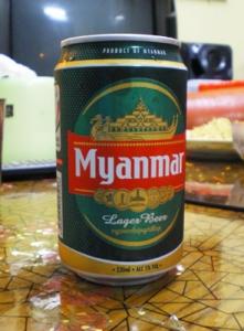 ミャンマービール。ラガービールなのに、とんがった香ばしさが無い。美味い。