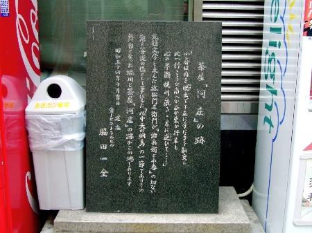 茶屋「河庄」跡碑