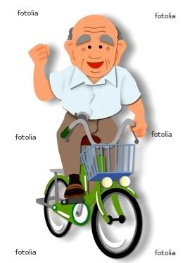 ●自転車に乗る元気なおじいさん