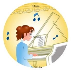 ピアノを奏でる女性 イラスト