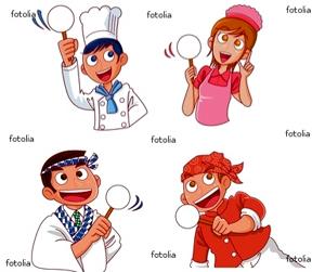 料理人4人衆  イラスト