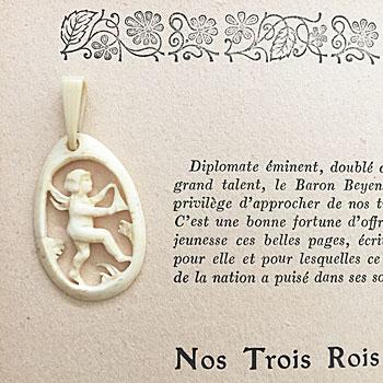 pendant top ivory antique 象牙のエンジェルペンダント 天使のペンダント