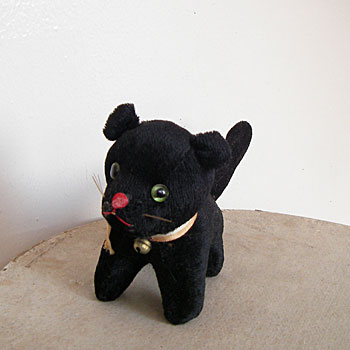 クロネコのぬいぐるみ アンティークベア アンティーク猫のおきもの