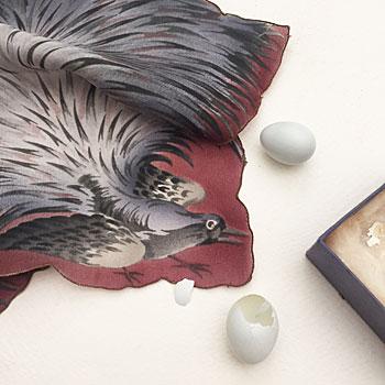 アンティークバードスカーフ バードハンカチ 鳥のハンカチ