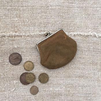 アンティークレザーがま口 イギリスアンティーク財布