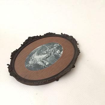 アンティークブリキ 装飾 フレーム 額 楕円型額