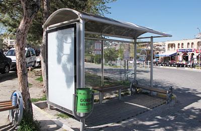 ユルギュップ行きバス停