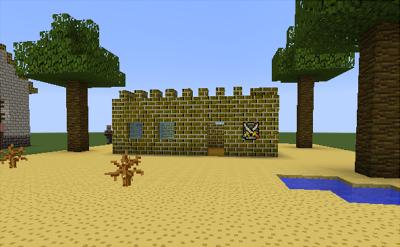 これで砂ブロックの上に建物を作るとこうなります。