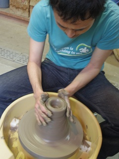 on a potters wheel
