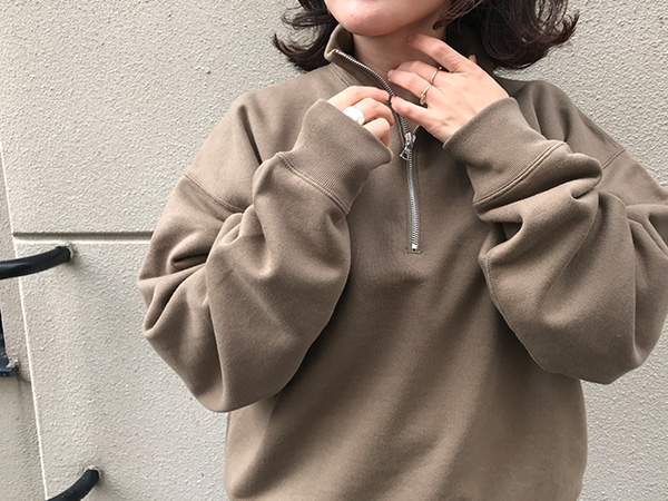 オーラリー BACK WOOL SWEAT HALF ZIP PULLOVER オリーブブラウン.jpg