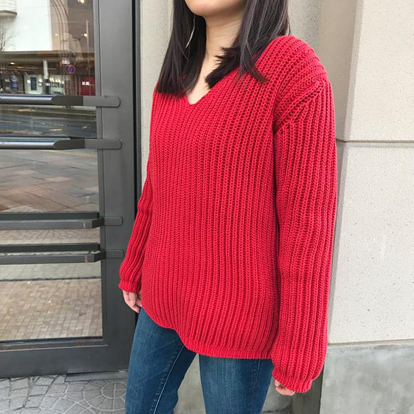 アイディーデイリーウェア narrow sliver?lilyyarn v neck knit レッド.jpg
