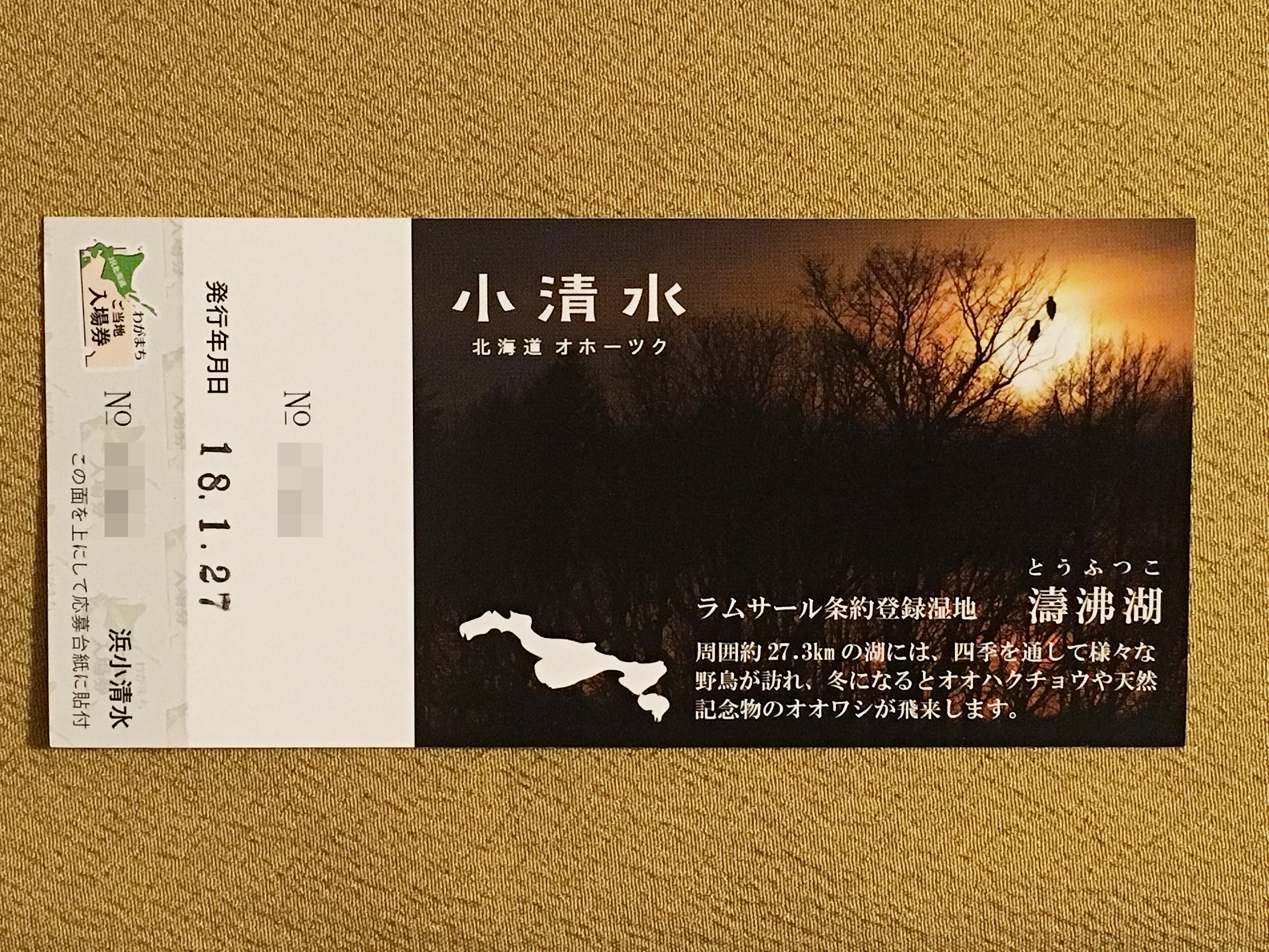 JR北海道ご当地入場券  浜小清水駅裏.JPG