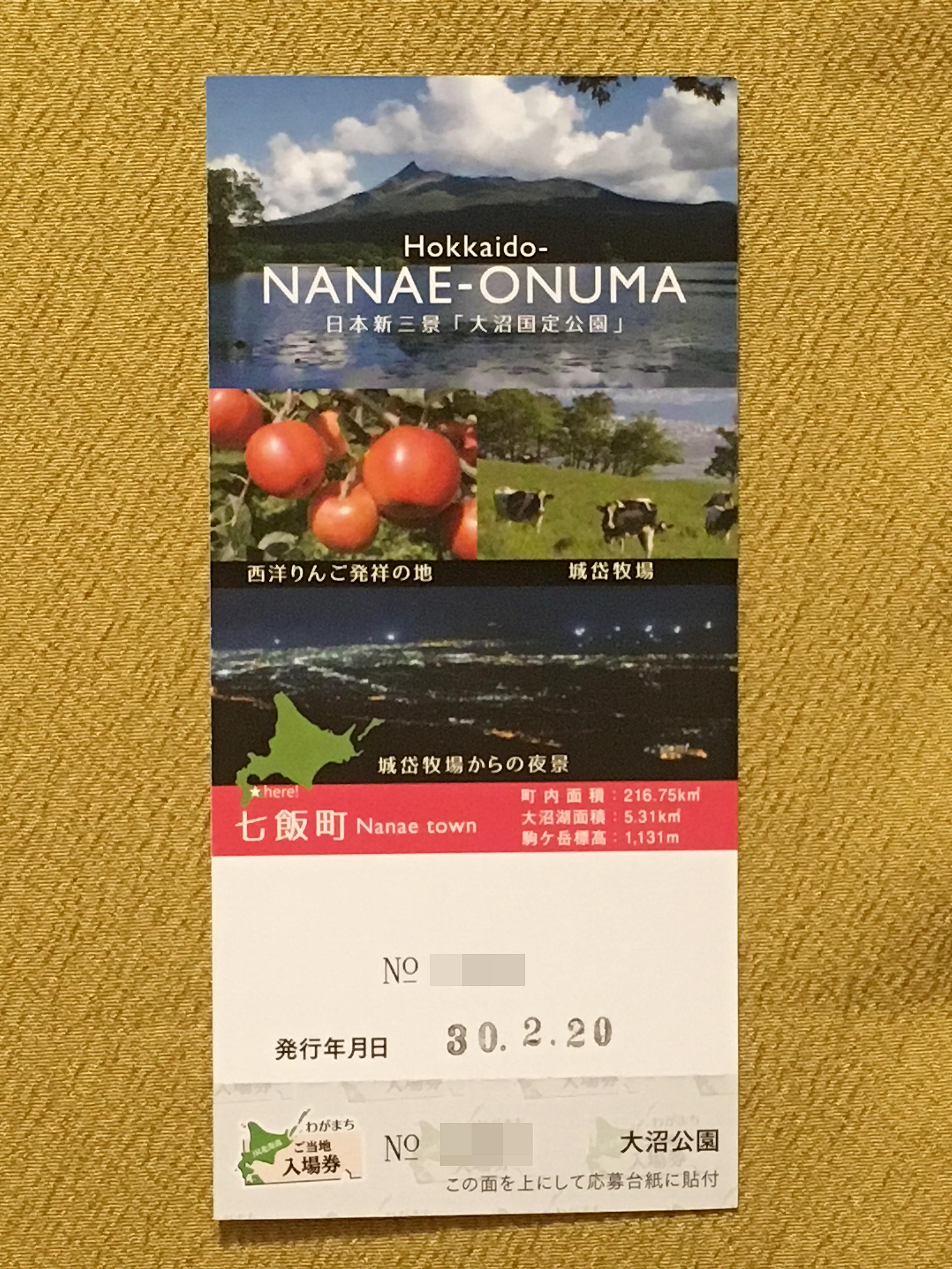 JR北海道ご当地入場券 大沼公園駅裏.JPG